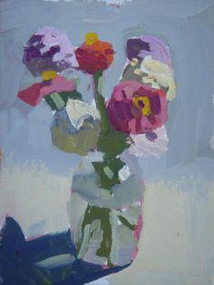 Peggy Kroll-Roberts  Lovely little vase of zinnias.