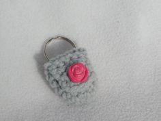 Keychain Coin Cozy  Grey Rose by honeybee69 on Etsy, $6.00