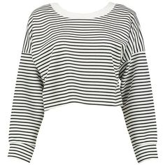 Boohoo Petite Alex Stripe Cropped Sweatshirt (34 BRL) ❤ liked on Polyvore featuring tops, hoodies, sweatshirts, sweaters, shirts, clothes - tops, petite white shirt, striped shirt, striped crop top and white striped shirt