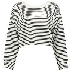 Boohoo Layla Stripe Cropped Sweatshirt ($20) ❤ liked on Polyvore featuring tops, hoodies, sweatshirts, jersey sweatshirt, white crew neck sweatshirt, crop top, white sweatshirts and quilted sweatshirt