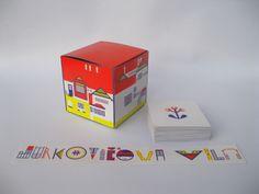 Pexeso, krabička a záložka Jurkovičova vila Pexeso, krabička na něj a záložka do knihy. Velikost nerozstříhaného pexesa: 39 X 32 cm. Velikost rozloženého pexesa: 39X 90,5 cm. Velikost krabičky: 7,5 X 7,5 X 7,5 cm. Velikost kartičky pexesa: 6,3 X 6,3 cm. Velikost záložky: 23 X 3 cm. Počet kartiček: 60 kusů. Papír je gramáže 300 g, křídový a lesklý. Návod: Krabičku ...