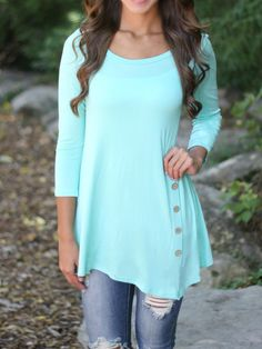Shop Mint Green Round Neck Side Buttons T-Shirt online. SheIn offers Mint Green Round Neck Side Buttons T-Shirt & more to fit your fashionable needs.