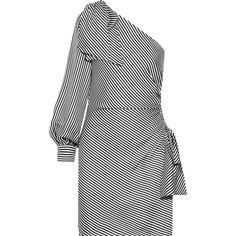 Zimmermann Maples Bow one-shoulder ribbed striped mini dress (1 765 PLN) ❤ liked on Polyvore featuring dresses, zimmermann, white dresses, striped mini dress, white striped dress, mini dress and long-sleeve mini dresses
