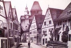 Drawing of buildings on a street