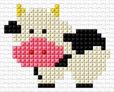 Cross Stitch Cow, Unicorn Cross Stitch Pattern, Cross Stitch For Kids, Cross Stitch Cards, Simple Cross Stitch, Cross Stitch Animals, Easy Cross, Cross Stitch Patterns Free Easy, Cross Stitch Borders