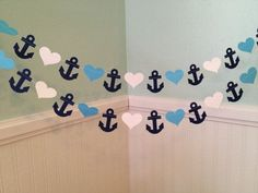 Anchor and hearts paper garland Ahoi It& a boy from ClassicBa . - Anchor and heart paper garland Ahoi It& a boy from ClassicBa … # - Baby Shower Themes, Baby Boy Shower, Shower Ideas, Bathroom Ideas, Baby Shower Marinero, Anchor Baby Showers, Gender Reveal Decorations, Shower Bebe, Nautical Party