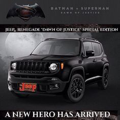 Batman Jeep Renegade- Special Edition featured in Batman v Superman Movie #jeeprenegade #jeeps #NJ #newjersey #jerseyshore #monmouthcounty #thejeepstore #jeepsandjeeps #batmanjeep #thejeeplife #jeepsforsale Images and details on the Limited Edition 2016 Batman Jeep Renegade featured in the new movie can be found by visiting http://ift.tt/1MzAms3