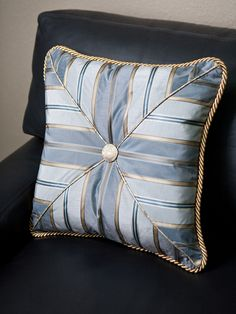 Custom Blue and Gold Chevron Pillow from Sheffield Furniture Cute Pillows, Diy Pillows, Accent Pillows, Floor Pillows, Decorative Pillows, Throw Pillows, Patchwork Cushion, Patchwork Baby, Quilted Pillow