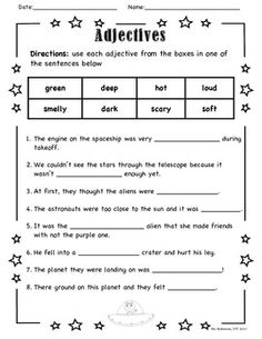 Adjectives and Nouns | Worksheet | Education.com