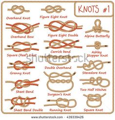 Set of rope knots, hitches, bows, bends isolated on white background. Decorative