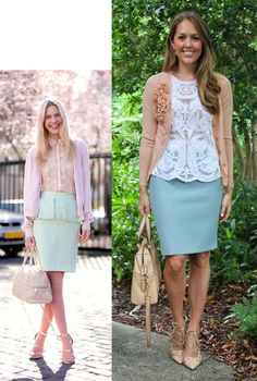 Today's Everyday Fashion: Scalloped Deails - light blue skirt, white lace top, cream/beige sweater