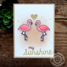 Sunny Studio Stamps: Flamingo Card by Vanessa Menhorn (using Tropical Paradise, Sweet Script, Sunshine Word die and heart from Sunny Borders dies). Sunnies Studios, Fruity Drinks, Flamingo Birthday, Scrapbook Cards, Scrapbooking, Hibiscus Flowers, Tropical Paradise, Stamping Up, Cards