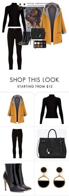 """""""WINTER IS IN HER"""" by randoomstylecatcher ❤ liked on Polyvore featuring WithChic, Acne Studios, Frame, Yves Saint Laurent, Gianvito Rossi, Warehouse and Down to Earth"""