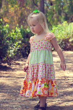 Juvie Moon PDF Pattern E Book Tutorial  Liddy Twirly Girly Boutique Dress DIY  Size 18 months to 12 years. $14.00, via Etsy.