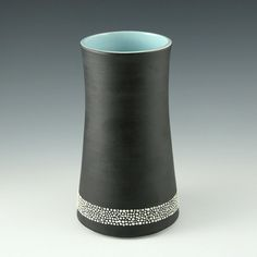 Satin Black Vase with Blue Interior FREE SHIPPING by kimwestad, $88.00