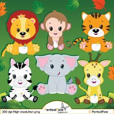 Jungle Animal Clipart Baby Animals Clipart Safari by Cutesiness Baby Zoo Animals, Safari Animals, Jungle Safari, Jungle Clipart, Clipart Baby, Animal Cutouts, Baby Clip Art, Animal Design, Giraffe