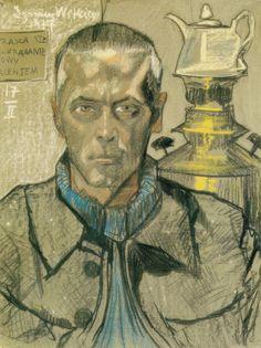 Stanislaw Ignacy Witkiewicz (1885-1939) – Self-Portrait with a Samovar (1917) Pastel sur papier