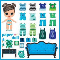 Paper doll with clothes set Royalty Free Vector Image , Diy For Kids, Gifts For Kids, Cartoon House, Barbie Paper Dolls, Paper Dolls Printable, Paper Doll Template, Bullet Journal Banner, Image Paper, Miniature Crafts