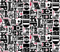 Woodtype Alphabet - Black & Red - pennycandy - Spoonflower