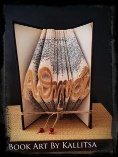 Δώρο ♥ Ονόμα ♥ Athina ♥ Αθηνά ♥ Βιβλίο ♥ Book Folding ♥ Book Art ♥ Book Art By Kallitsa #names #gifts #bookartbykallitsa