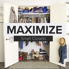 How To Maximize Space In A Small Closet - Step-By-Step Project Small closet? Watch How To Organize A Small Closet. It's your typical small reach-in closet, the kind with a single bar and a shelf. Whether it's in your bedroom, kid's room or gue Small Closet Organization, Organisation Hacks, Bedroom Organization Diy, College Organization, Organizing Ideas, Organizar Closets, Organiser Son Dressing, Closet Designs, Bedroom Designs