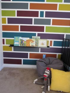 How to Paint a Mosaic Accent Wall {Bedroom Makeover} - DIY – how to make your own multi-color mosaic wall. East Coast Creative a. Room Wall Painting, Tape Painting, Kids Room Paint, Bedroom Wall Designs, Accent Wall Bedroom, Accent Walls, Frog Tape Wall, Creative Walls, Creative Wall Painting