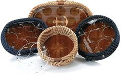 Italian Coiled Rope & Teak Inlay Serving Trays