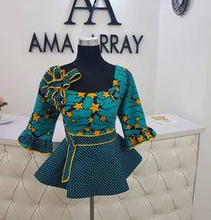 2019 Latest and Lovely Ankara Peplum Top Styles African Fashion Ankara, Latest African Fashion Dresses, African Inspired Fashion, African Print Fashion, African Blouses, African Tops, African Women, Ankara Peplum Tops, Ankara Blouse