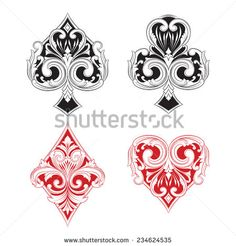 Black and Red Playing Card Vintage Stock-Vektorgrafik (Lizenzfrei) 234624535 Playing Cards Art, Club Tattoo, Tattoo Signs, Art Basics, Diamond Tattoos, Tarot, Body Art Tattoos, Tattoo Inspiration, Vintage