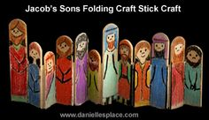 Jacob and His Sons Folding Craft Stick. Could also do this with gnomes/Seven Dwarves, etc.