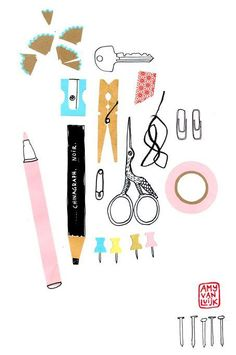 Amy van Luijk.  I love this little collection. Stationery is one of my favourite things to draw.