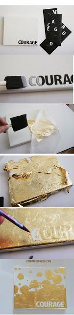 Make an easy and beautiful DIY gold leaf canvas with any word or phrase you want!
