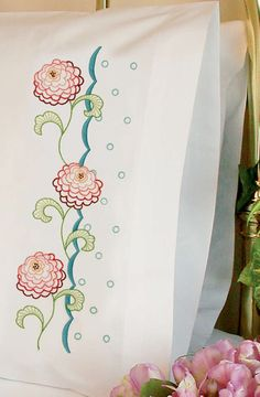 Dimensions Stamped #embroidery ZINNIA #pillowcases