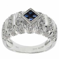 0.80 Cttw Round Diamond Princess Sapphire Cocktail Ring in 14K White Gold by…