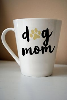 This listing is for one laser-cut decal that reads Dog Mom (pictured above on a coffee mug). Application is simple, as the decal will arrive in one easy-to-apply transfer sheet that facilitates application. Instructions will be included. The self-adhesive vinyl may be used for indoor or outdoor purposes. Note that decals are non re-positionable once applied, therefore location should be considered beforehand.  The vinyl is approximately 2.5 inches wide.  For other designs and sizes, please s...