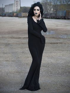 Black Gothic Dress with Hood - Devilnight.co.uk