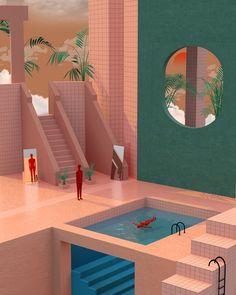 Gallery of Tishk Barzanji's Illustrations Envision Complex Universes Inspired By Surrealism And Modern Architecture - 12 Gallery of Tishk Barzanji& - # 3d Drawings, Grafik Design, Photomontage, Digital Illustration, People Illustration, 3d Illustrations, Architecture Illustrations, 3d Architecture, Architecture Visualization