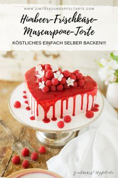 Raspberry Cream Cheese Mascarpone Cake – great and simple cake – Obstkuchen Valentines Day Dinner, Valentines Day Desserts, Meat Recipes, Cake Recipes, Mascarpone Cake, Cinnamon Biscuits, Naked Cakes, Creamy Mushroom Sauce, Raspberry