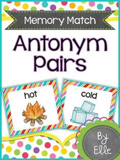 Antonym Pairs Memory Match Language Arts Mini-Center!This fun and colorful memory match card game will help your students practice matching antonym pairs in an engaging way! Students use picture cues to read and define antonyms, then match them to their opposites.