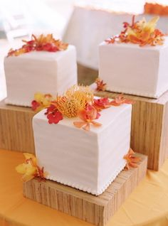 Love these!    Reception, Cake, Orange, Blue, Wedding, Beach, Colorful