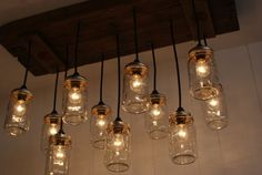 Upcycled Wood Chandelier with Mason Jar by Bornagainwoodworks, $400.00