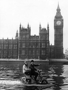 Amphibious water Vespa on the Thames London 1960's