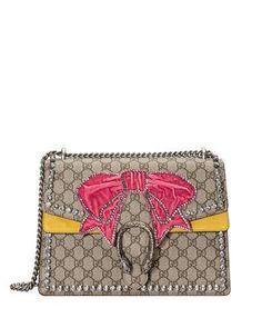V3PJX Gucci Dionysus Medium GG Supreme Canvas Shoulder Bag with Crystal Bow