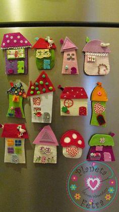 House ornament, Set of eight, Felt House decoration , Decoration for wallâ? Clay Crafts, Diy And Crafts, Craft Projects, Crafts For Kids, Crafts With Felt, Felt Embroidery, Felt Applique, Felt Christmas Ornaments, Christmas Crafts
