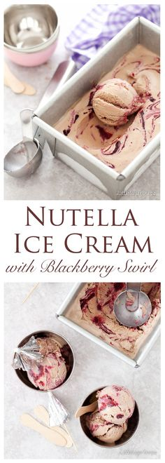 Nutella Ice Cream with Blackberry Swirl:Subtle milk chocolate and punchy blackberry sauce team up in this Nutella Ice Cream to provide candy for your eyes as well as your tastebuds. Dive in. Sit back. Chill.