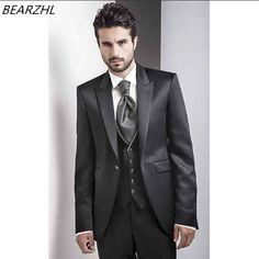 wedding shiny tuxedo for groom wear black 3 piece suits custom made suit 2018 men suits