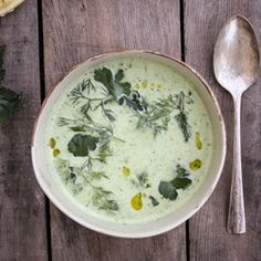 chilled cucumber soup with farm fresh herbs - Dishing Up the Dirt - nice summer soup, try using coconut yogurt or vegan sour cream Soup Recipes, Vegetarian Recipes, Cooking Recipes, Healthy Recipes, Ham Recipes, Cooking Tips, Think Food, Food For Thought, Gastronomia