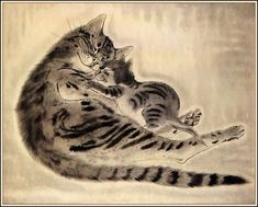 Chatte et chaton endormis /Sleeping cat and kitten Tsuguharu Foujita 嗣治 藤田 Asian Cat, Sculpture Textile, Animal Gato, Oriental Cat, Japanese Cat, Illustration Art, Illustrations, Cat Sleeping, Japan Art