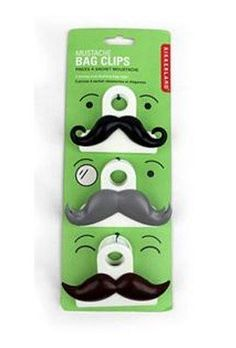 Kikkerland Mustache Bag Clips, Set of 3 by Kikkerland. $4.00. Perfect for use as a bag clip, note holder or organizing items in your home. Made of durable plastic with chrome iron springs. Set of 3 clips in assorted mustache styles. Stylish mustache bag clips. Measure 3.5 by 2.5 by 1.5-inch. Secure your bags in style with these strong and dashing clips. Perfect for use as a bag clip, note holder or organizing items in your home. Set of 3 clips in assorted mustache sty...