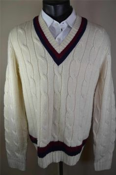 Brooks Brothers wool cable knit tennis sweater.
